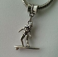 Surfer On Surfboard Surf Water Sport Dangle Charm Bead European Style Bracelet