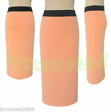 Solid Wear to Work High Waisted Casual Tight Slim Fit PENCIL Midi Skirts MEDIUM