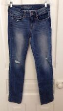 Women's AMERICAN EAGLE Skinny STRETCH Jeans Whiskered/Distressed Med Wash 4 Reg