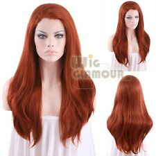 "Long Straight 24"" Light Reddish Brown Lace Front Wig Heat Resistant"