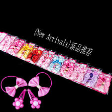 New 40pcs Mixed Lot Flower Baby Kids Girls Hair Pins Clips Bow Elastic HairBands