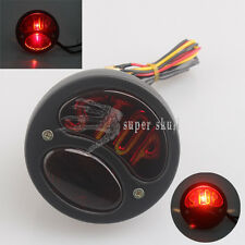 LED STOP Brake Motorcycle Rear Tail Lights Cruiser Cafe Racer Black Universal
