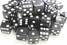 "WHOLESALE LOT OF 50 BLACK DICE WHITE PIPS 6 SIDED D6 DIE GAME SIX 5/8"" 16mm"