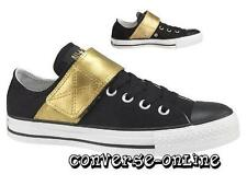 RARE Women Boy CONVERSE All Star BLACK GOLD ONE STRAP OX Trainers Shoe UK SIZE 5