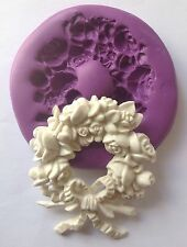 Flower Wreath silicone mould (cupcake.shabby.rose.chic.vintage.wedding.love.cake