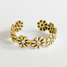 925 Silver 14K Yellow Gold Over Daisy Women's Special Adjustable Toe Ring