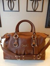 Mint COACH Ashley Chestnut Brown Leather Satchel Shoulder Hand Bag Purse F15445