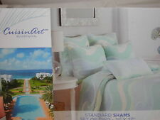 New CuisinArt Resort & Spa Standard Shams Set of Two - Blue, Green & Ivory Wave