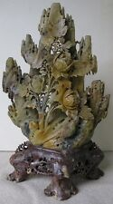 Vintage Mid Century Chinese Carved Soapstone Statue 12 inch Flowers Leaves Rocks
