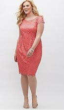 ADRIANNA PAPELL CORAL ILLUSION CAP SLEEVE LACE SHEATH DRESS SZ 20W LANE BRYANT