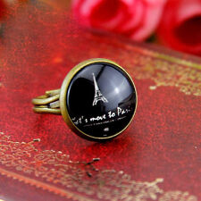 Art Deco vintage retro style Eiffel tower adjustable ring