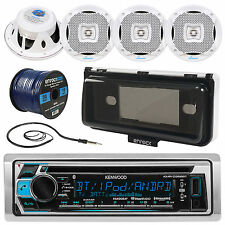 "Kenwood In-Dash Marine Receiver, Cover, 4x 6.5"" Speakers, Antenna, 50Ft Wire"