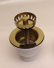 Belfast Sink Basket Strainer Waste BRASS - with 90mm screw sinks with overflow