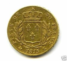 LOUIS XVIII (1814-1824) 20 FRANCS OR GOLD 1815 K BORDEAUX 5 SUR 4