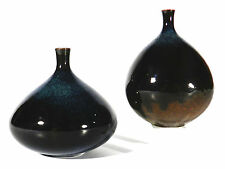 Karin KIESLING Bielefeld Keramik Vase ° 2x Sixties Keramikvase mit Laufglasur