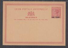 Bahamas H&G 3 mint 1892 1p on 1½ Queen Victoria Postal Card F-VF
