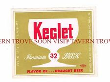 Unused 1950s Esslinger Keglet 32oz Beer label Tavern Trove Pennsylvania