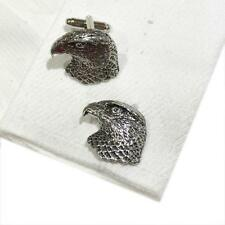 Silver Pewter Hawks Head Cufflinks Handmade in England Cuff Links Hawk New