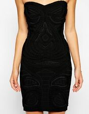 £275 NEW Forever Unique BLACK Cameo Bandage Bodycon Bandeau Mini LBD Dress 12