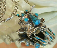 So Neat-O Vintage 50's Faux Turquoise Face Statement Necklace 368MY6