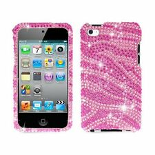 Apple ipod Touch 4g 4th Gen Bling Pink Zebra Skin Diamond Hard Case Cover NEW