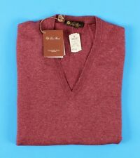 $1025 NWT - LORO PIANA CASHMERE / SILK V-neck Sweater - Red - 52 M Medium