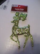 CHARTREUSE GREEN GLITTER REINDEER CHRISTMAS TREE ORNAMENTS DECORATIONS