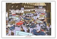 Affiche Offset Yves CHALAND Le Salon de l'Auto 1955 Citroen DS Panhard 50x70 cm