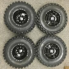 4 Can Am DS450 ARCTIC CAT DVX400 BLACK ITP SS112 Rims & Slasher Tires Wheels kit