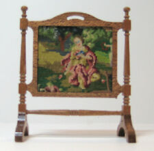 Miniature dollhouse fireplace screen with antique petit point -needlepoint.