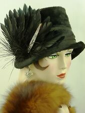 VINTAGE HAT 1920s CLOCHE HAT ORIGINAL, BLACK BRUSHED FELT w FEATHERS & DECO PIN