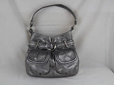 B Makowsky Silver Leather Belt Women Purse Handbag Leopard Print Interior
