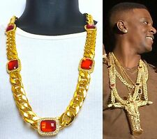 "MENS ICED OUT HIP HOP 15mm 33"" RAPPERS MIAMI CUBAN LINK RED RUBY CHAIN NECKLACE"