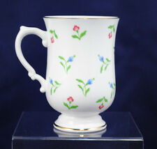 Royal Victoria Fine Bone China Pink Blue Floral Footed Coffee Tea Mug Cup Gold