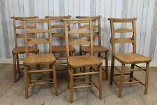 ANTIQUE STYLE SOLID OAK DINING CHAIRS CHAPEL CHURCH CHAIRS WITH BAR BACK DESIGN