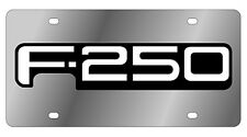 New Ford F-250 White Word Logo Stainless Steel License Plate