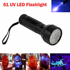51 UV LED Flashlight Violet Scorpion Security Detection Black Light 3 AA Torch