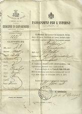 Passaporto per l'Interno per Bracciante Giornaliero - Capannori Lucca 1894