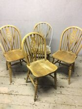 4 X Wheel back Dining Chairs Superb Quality Farmhouse Vintage/antique Pine