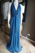 DAVID MEISTER Blue Draped Halter Evening Gown Dress 8