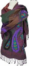 Pashmina Schal scarf Wolle Lila Grün wool hand bestickt embroidered purple green