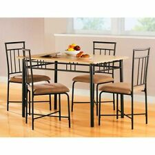 Dining Room Set Table + 4 Chairs Kitchen Metal Wood Square Home Family Modern