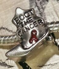 1P Cowboy Style Boot The Cancer Cancer RED Ribbon Awareness European Bead Charm