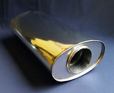 "89mm bore (3½"") 9x5 Oval x 12"" Long Universal Stainless steel exhaust silencer"