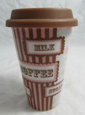 Ceramic Travel Coffee Mug Cup with Silicone Lid