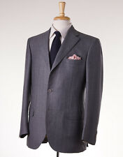 NWT $6400 BRIONI Medium Gray Stripe Wool-Cashmere-Silk Suit 46 R Flat-Front