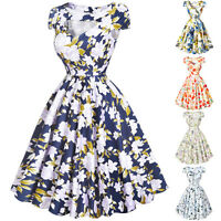 Vintage floral 50s 60s Pinup Swing Evening Retro JIVE TEA Party Dress