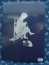 "Vtg. Hand Cut Paper Silhouette Folk Art ""Knitting with Cat"", signed, Dark Blue"