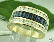 4.00 ct MENS MEN'S DIAMOND & SAPPHIRE RING YELLOW GOLD made in USA