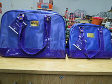 Joy Mangano Luxe Violet Duffel & Tote Bag Weekender Travel Luggage Set , New